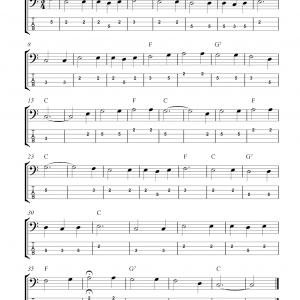 Free bass guitar tab sheet music, For He's A Jolly Good Fellow