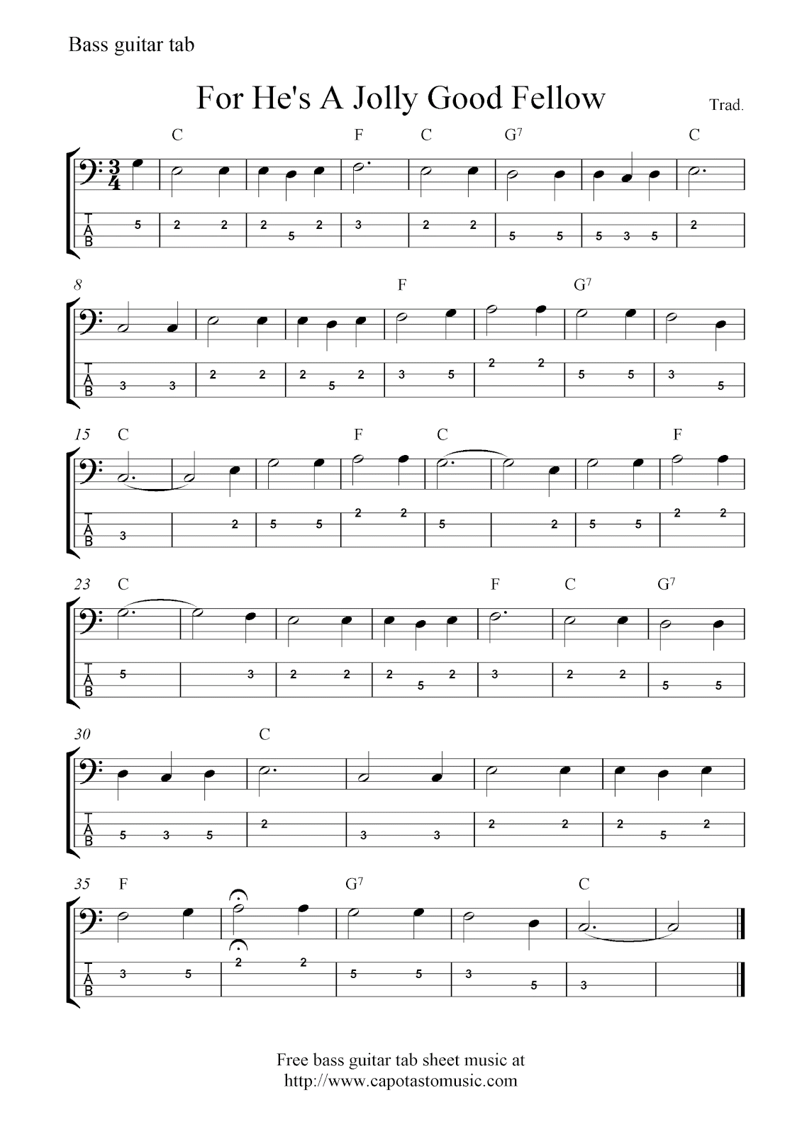 Bass tabs bruce thomas free bass guitar tab sheet music for hes a jolly good fellow hexwebz Choice Image
